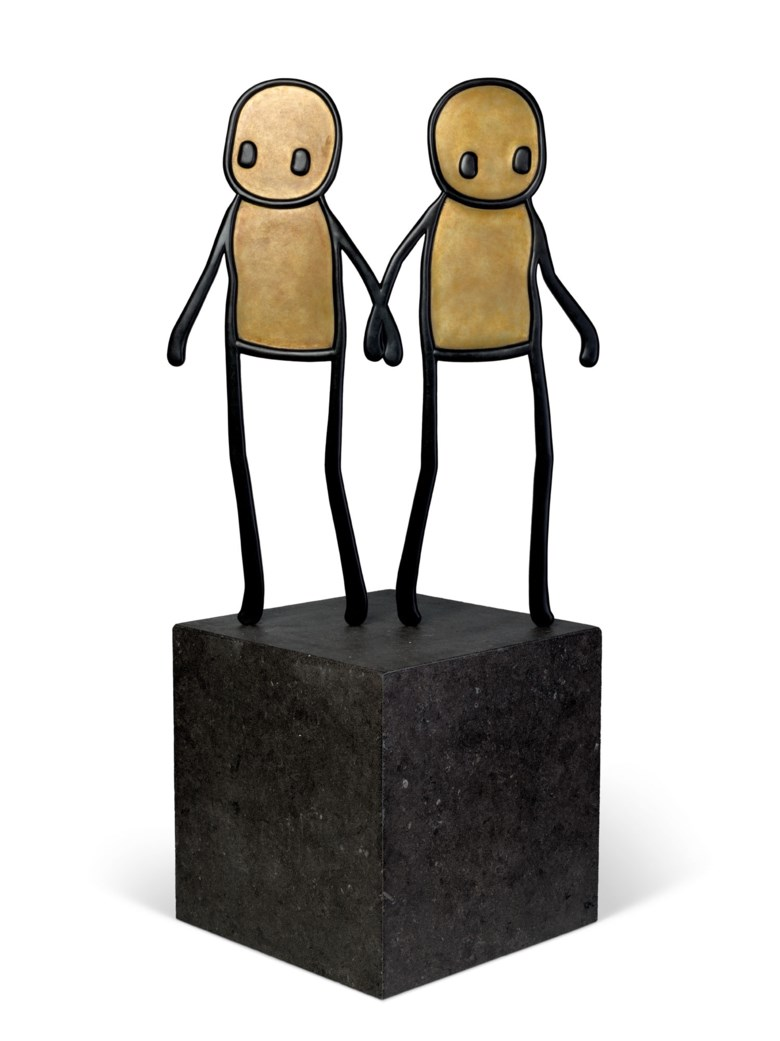 STIK (b. 1979), Holding Hands (Maquette), 2020. Bronze with black patina on artist's limestone base. Sculpture 39⅞ x 31⅝ x 1in (101.3 x 80.2 x 2.6 cm). Overall 62½ x 31⅝ x 22⅝ in (158.9 x 80.2 x 57.6 cm). Estimate £80,000-120,000. Offered in Post-War & Contemporary Art Day Sale on 23 October 2020 at Christie's in London