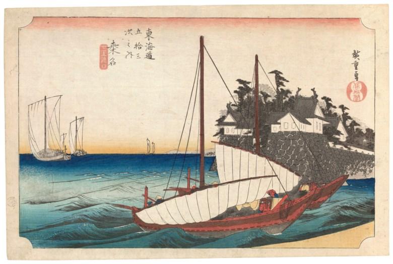 Utagawa Hiroshige (1797-1858), Kuwana Shichiri Crossing (Kuwana, Shichiri watashiguchi). Horizontal oban 24.6 x 37.7 cm (9½x 14½in). Estimate £3,000-4,000. Offered in  From Artist to Woodblock Japanese Prints, 11-18 June 2020, Online