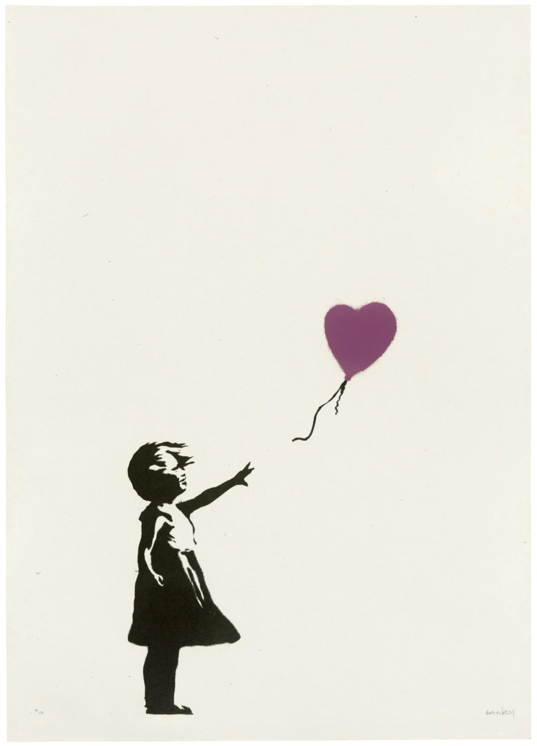 Banksy (b. 1974), Girl with Balloon - Colour AP (Purple), 2004. Screenprint in colours. Sheet 694 x 495 mm. Estimate £250,000-350,000. Offered in Banksy I can't believe you morons actually buy this sht, 10-23 September 2020, Online