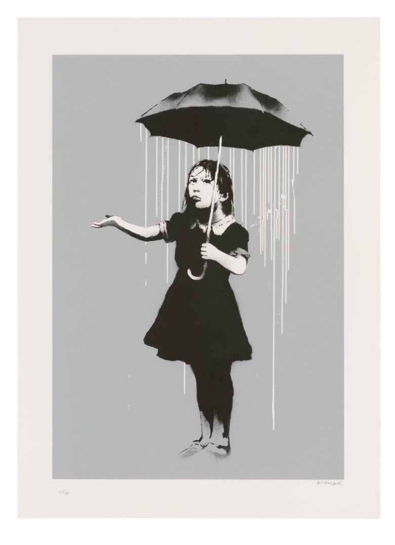 Banksy (b. 1974), NOLA (White), 2008. Screenprint in colours. Sheet 755 x 546 mm. Estimate £45,000-55,000. Offered in Banksy I can't believe you morons actually buy this sht, 10-23 September 2020, Online
