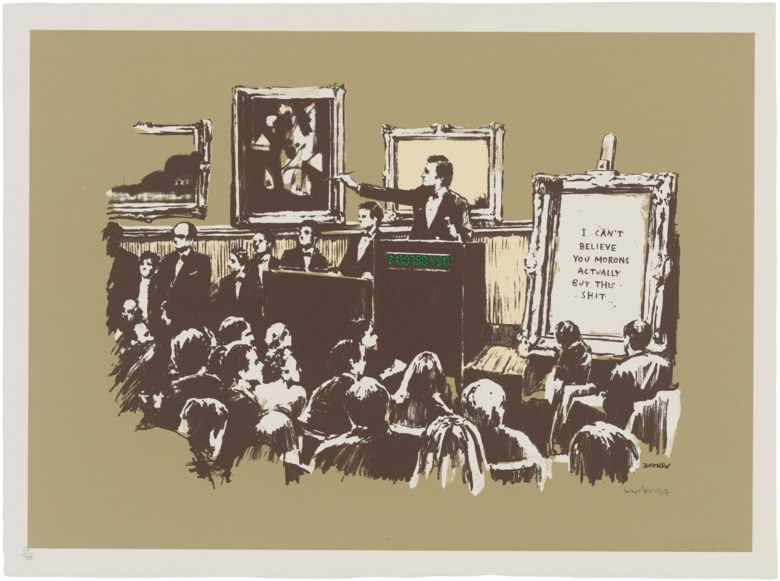 Banksy (b. 1974), Morons (Sepia), 2007. Screenprint in colours. Sheet 563 x 758 mm. Estimate £20,000-30,000. Offered in Banksy I can't believe you morons actually buy this sht, 10-23 September 2020, Online