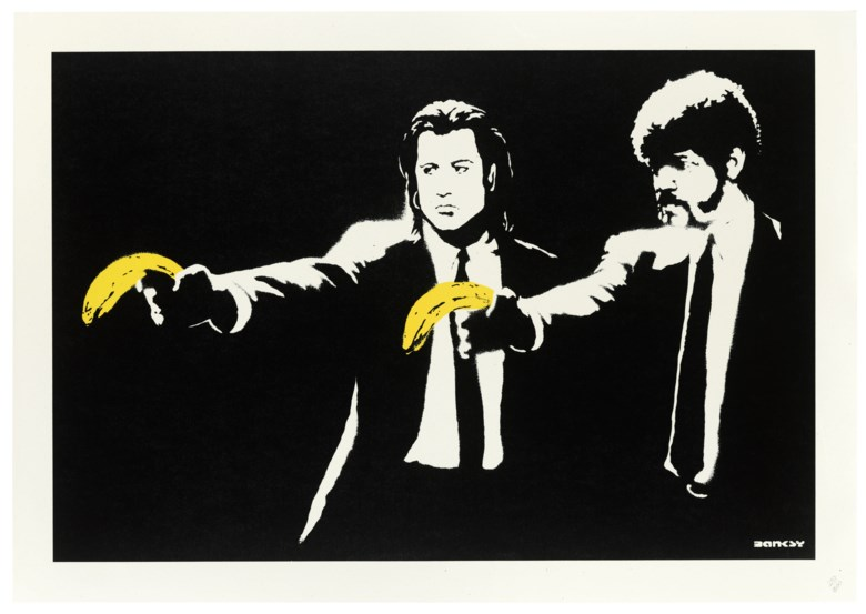 Banksy (b. 1974), Pulp Fiction, 2004. Screenprint in colours. Sheet 487 x 695 mm. Estimate £20,000-30,000. Offered in Banksy I can't believe you morons actually buy this sht, 10-23 September 2020, Online