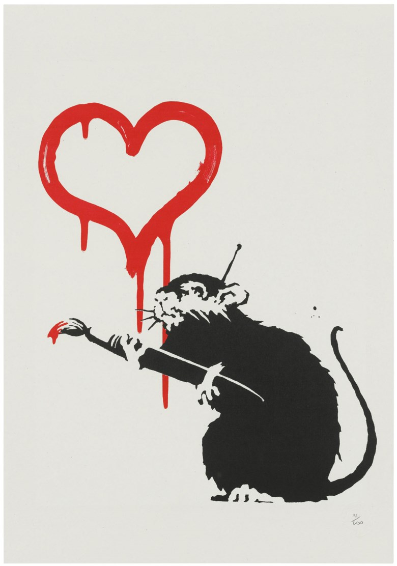 Banksy (b. 1974), Love Rat, 2004. Screenprint in colours. Sheet 491 x 343 mm. Estimate £12,000-18,000. Offered in Banksy I can't believe you morons actually buy this sht, 10-23 September 2020, Online