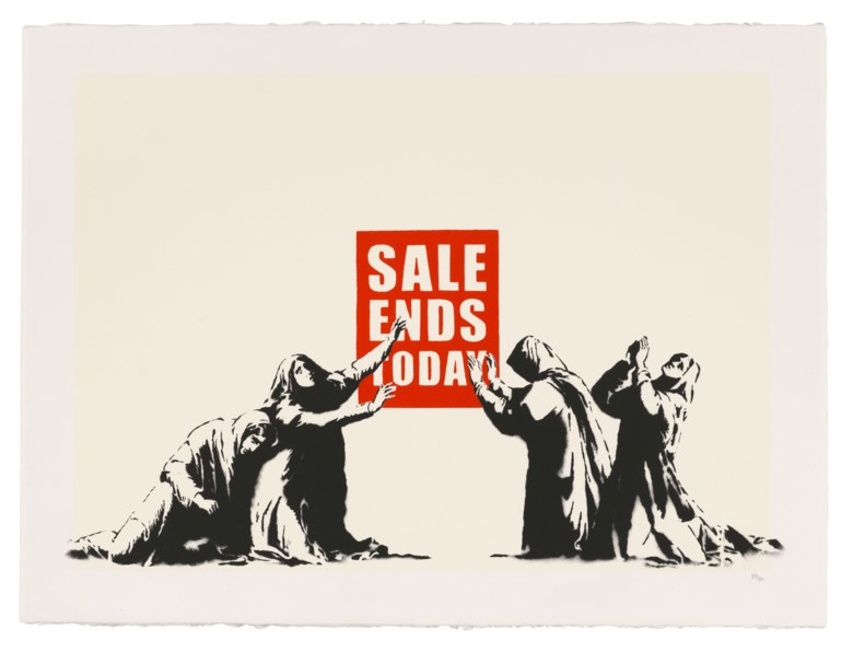 Banksy (b. 1974), Sale Ends (LA Edition), 2006. Screenprint in colours. Sheet 570 x 765 mm. Estimate £12,000-18,000. Offered in Banksy I can't believe you morons actually buy this sht, 10-23 September 2020, Online