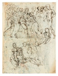 Studies of the Visitation and the Lamentation of Christ (recto); Studies of men with arms outstretched (verso)