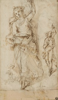 Two studies of Diana with her hounds (recto); A partially draped woman holding a vessel on her head (verso)