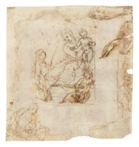 The Virgin and Child enthroned with attending musicians, and other studies (recto); The Rest on the Flight into Egypt (verso)