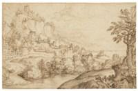 A landscape with a coastal town, after Albrecht Dürer