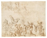 Moses and the Israelites reaching the Promised Land (recto); Studies of horses' heads (verso, visible through the recto)