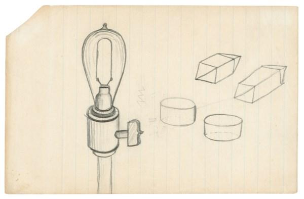 Edison works on his lightbulb