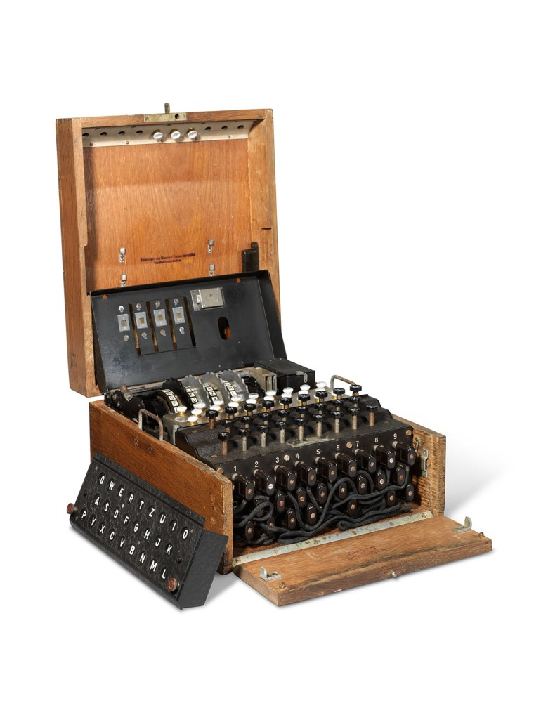 A Second World War enigma machine, Olympia Büromaschinenwerke, 1944. Sold for £347,250 on 16 July 2020 at Christies Online
