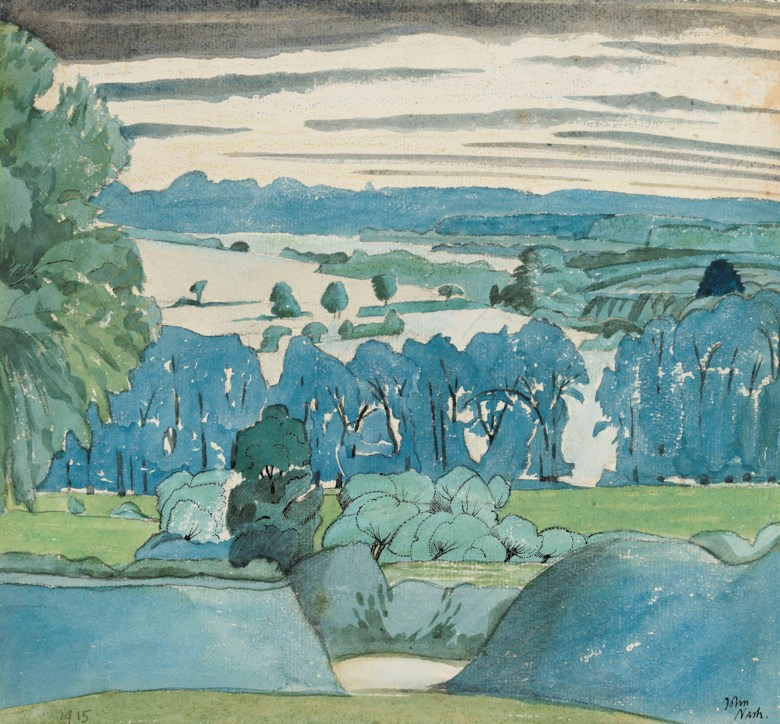 John Nash, R.A. (1893-1977), Misbourne Valley, Chalfont St. Peter, 1915. Pencil, watercolour, chalk and ink on paper. 10 x 10 ¾  in (25.4 x 27.3  cm). Estimate £25,000-35,000. Offered in The Delighted Eye Works from the Collection of Allen and Beryl Freer on 23 January 2020 at Christie's in London