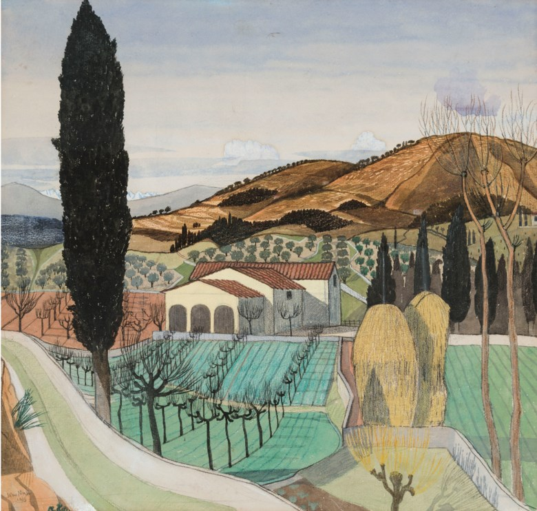 John Nash, R.A. (1893-1977), Tuscan Landscape, 1915. Pencil, watercolour, gouache and coloured crayon on paper.14⅛ x 14⅞  in (35.8 x 37.8  cm). Estimate £25,000-35,000. Offered in The Delighted Eye Works from the Collection of Allen and Beryl Freer on 23 January 2020 at Christie's in London