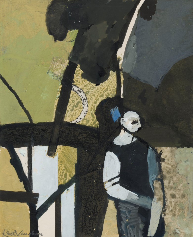 Keith Vaughan (1912-1977), Study of Woodman in a Clearing, 1955. Ink and gouache on paper laid on card.6 ½ x 5 ¼  in (16.5 x 13  cm). Estimate £7,000-10,000. Offered in The Delighted Eye Works from the Collection of Allen and Beryl Freer on 23 January 2020 at Christie's in London