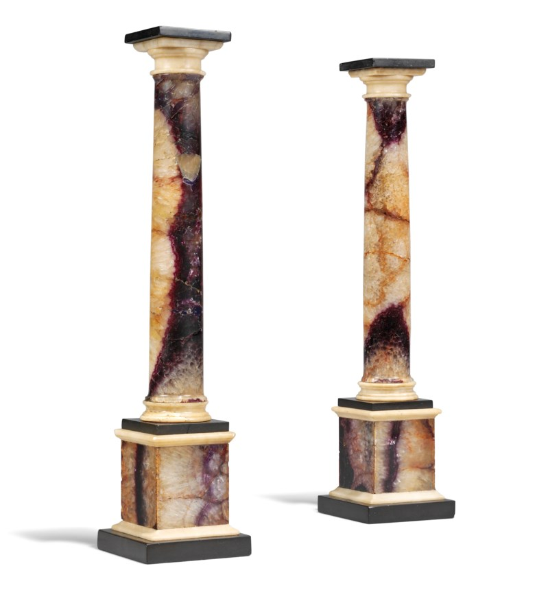 A pair of George III Blue John and Alabaster columns, late 18th centuryearly 19th century. 14½ in (37 cm) high. Estimate £3,000-4,000. Offered in  The Collector Online, 11 May to 1 June 2020, Online