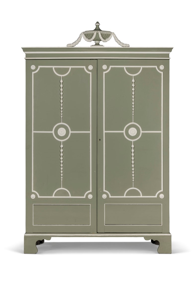 A George III green and white painted wardrobe, 18th-century and adapted, related to a design by Thomas Chippendale. 84½ in (215 cm) high; 56½ in (144 cm) wide; 23 in (59 cm) deep. Estimate £4,000-6,000. Offered in  The Collector Online, 11 May to 1 June 2020, Online