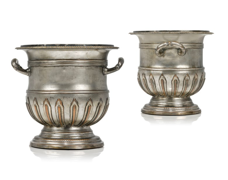 A pair of French silvered-copper and bronze refraichissoirs, 19th century. 8½ in (21.5 cm) high; 10 in, (25.5 cm) wide. Estimate £4,000-6,000. Offered in  The Collector Online, 11 May to 1 June 2020, Online