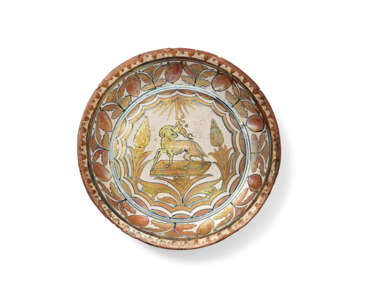 An Italian maiolica copper-lustred dish, first quarter of the 16th century, probably cafaggiolo. 93⁄4 in (24.8 cm) diameter. Estimate £1,200-1,800. Offered in  The Collector Online, 11 May to 1 June 2020, Online