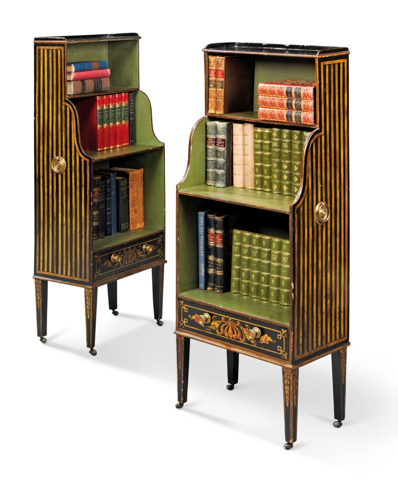 A pair of George III black-and-gilt and green-japanned waterfall bookcases, circa 1800. 47 in (120 cm) high; 18½ in (47 cm) wide; 11¾in (30 cm) deep. Estimate £4,000-6,000. Offered in  The Collector Online, 11 May to 1 June 2020, Online