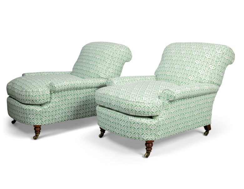 A pair of Howard late-Victorian upholstered armchairs, by Howard & Sons, late 19th centuryearly 20th century. 31 in (78½ cm high; 33½in (85 cm) wide; 46 in (117 cm) deep. Estimate £3,000-5,000. Offered in  The Collector Online, 11 May to 1 June 2020, Online