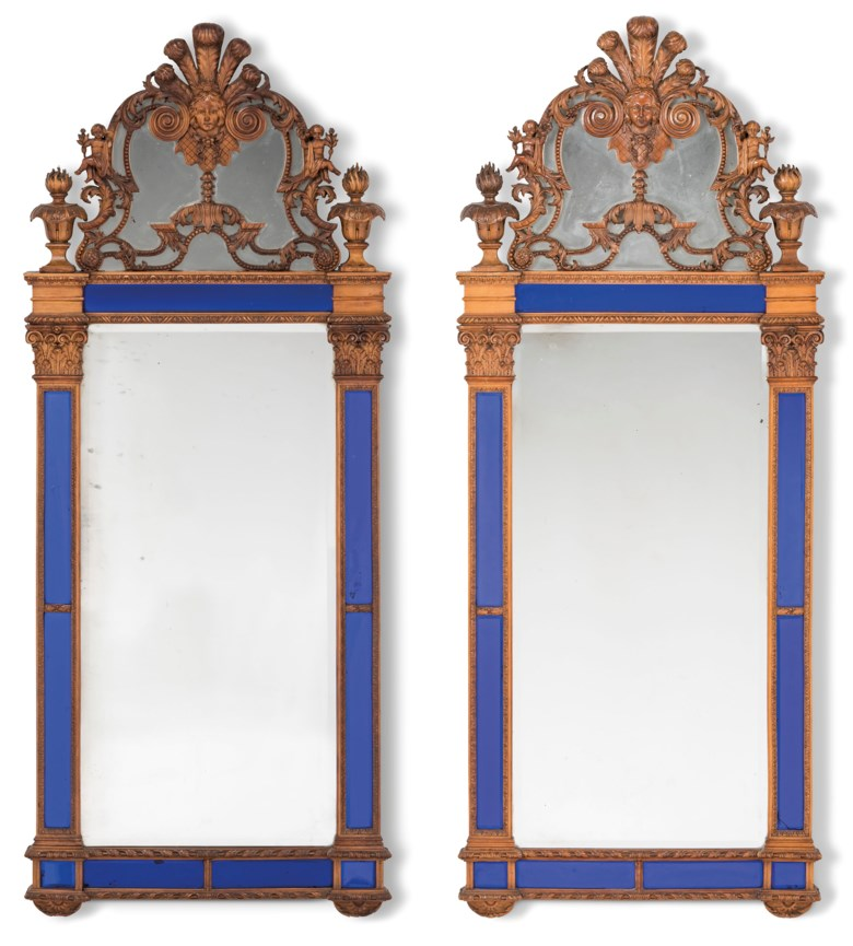 A pair of North European stained beech and pine and blue-glass mirrors, possibly Swedish, late 19th century. 62 in (157.5 cm) high; 25 in (63.5 cm) wide. Estimate £4,000-6,000. Offered in  The Collector Online, 11 May to 1 June 2020, Online
