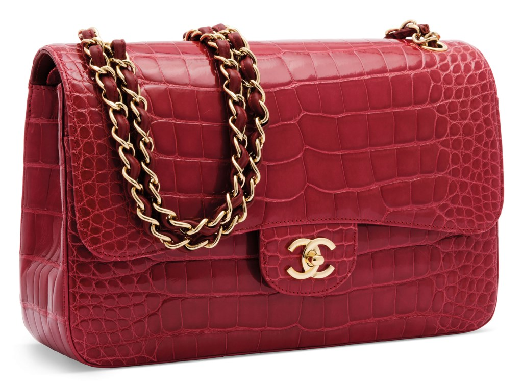 A SHINY RED ALLIGATOR JUMBO CLASSIC DOUBLE FLAP WITH GOLD HARDWARE