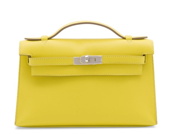 A LIME SWIFT LEATHER KELLY POCHETTE WITH PALLADIUM HARDWARE