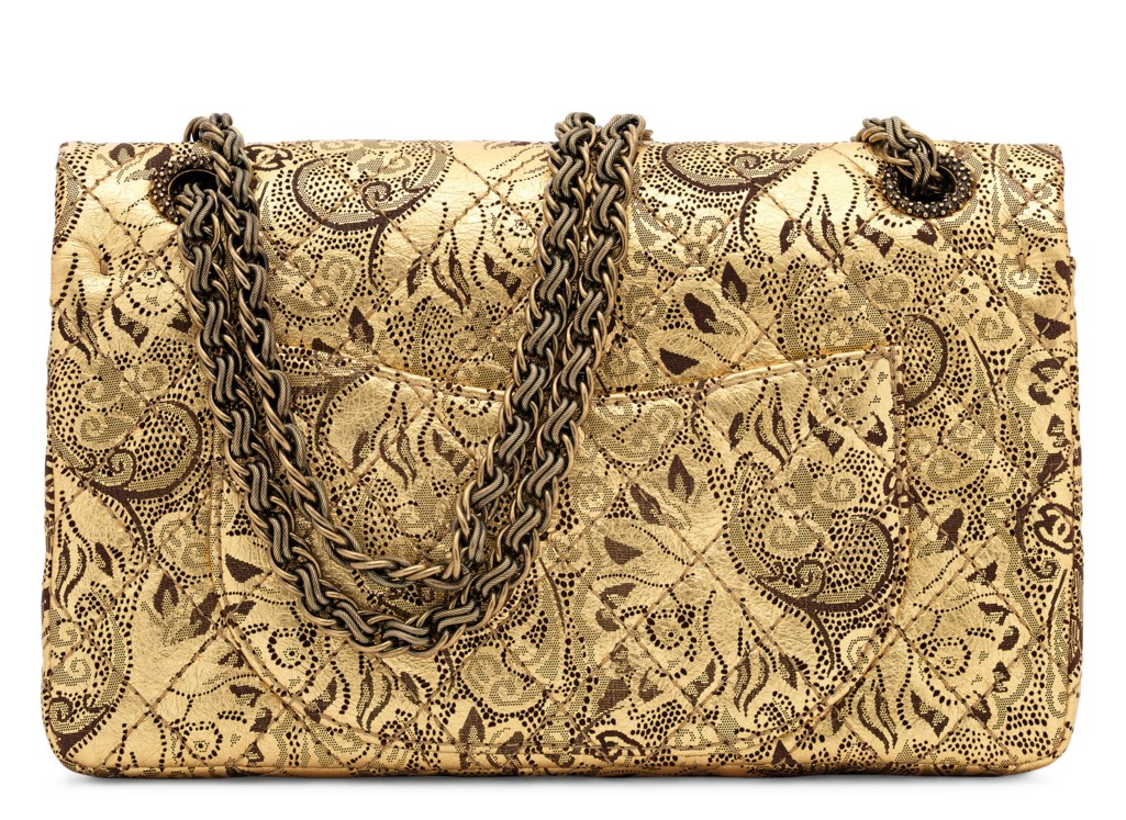 A PARIS-MOSCOW RUNWAY METALLIC GOLD LEATHER 2.55 REISSUE 225 DOUBLE FLAP WITH GOLD HARDWARE