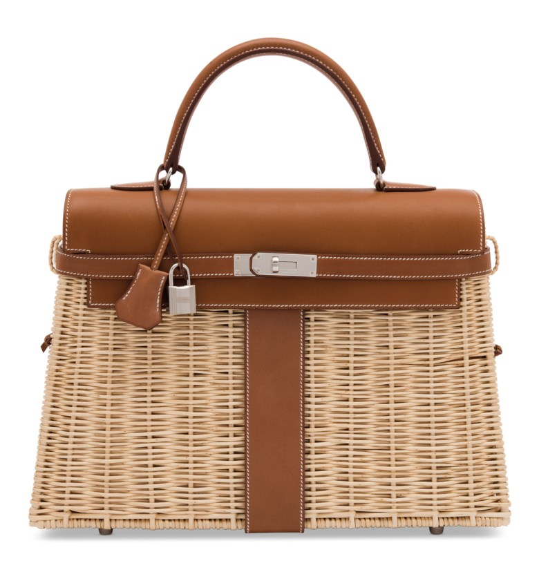 A limited edition naturel barénia & osier picnic Kelly 35 with palladium hardware, Hermès, 2018. 35 w x 25 h x 13 d cm. Estimate £20,000-30,000. Offered in Handbags Online The London Edition, 9-25 June 2020, Online