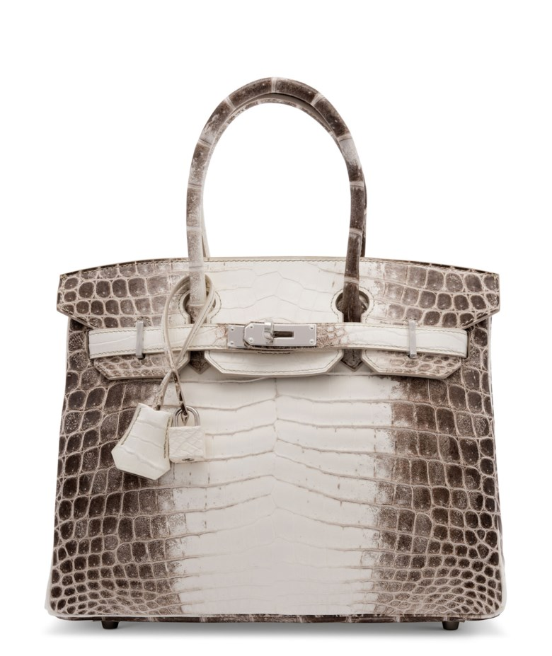 A rare, matte white Himalaya Niloticus Crocodile Birkin 30 with palladium hardware, Hermès, 2016. 30 w x 22 h x 15 d cm. Sold for £125,000, 25 Jun 2020, Online