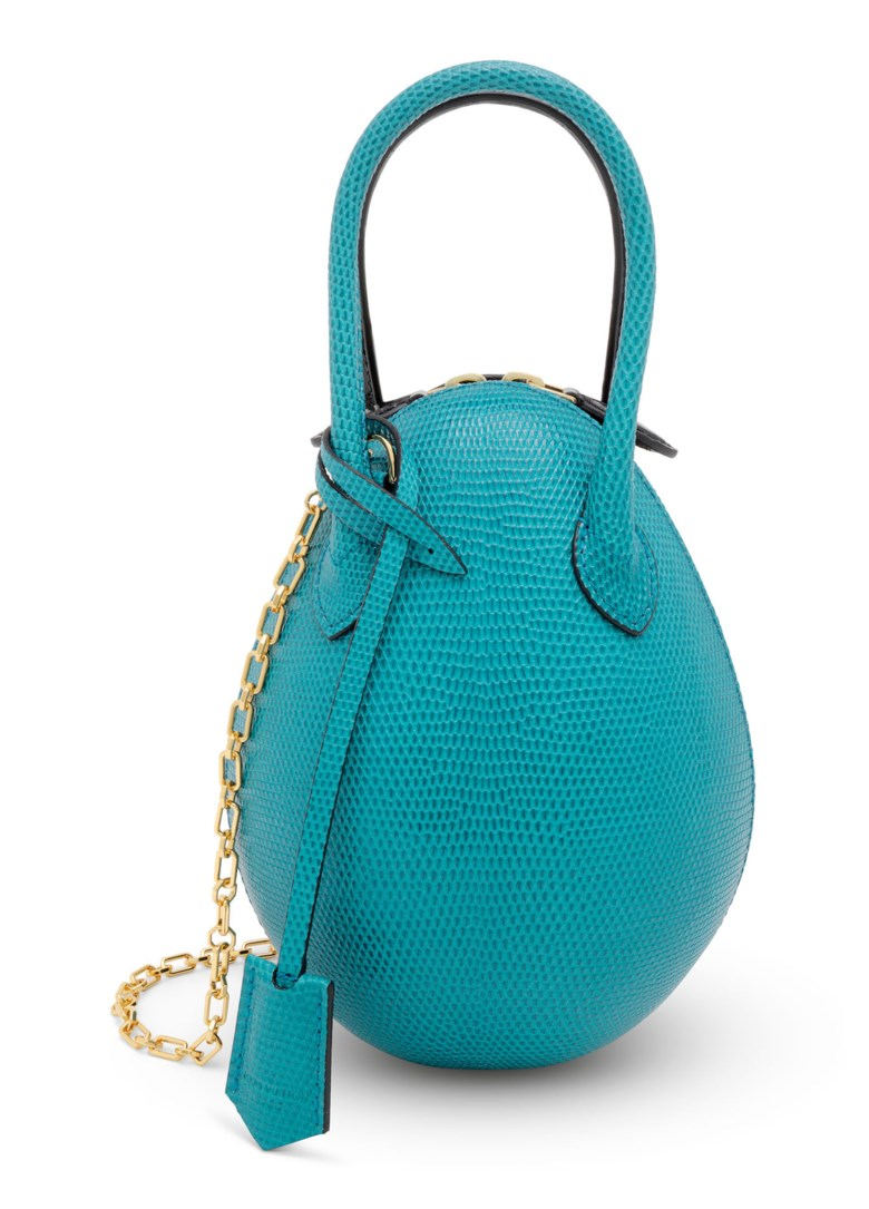 A matte black alligator and shiny blue lizard egg bag with gold hardware, Louis Vuitton, 2019. 21 w x 21 h x 12 d cm. Sold for £5,625 on 25 June 2020, Online