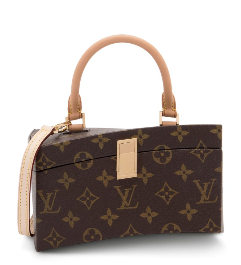 A limited-edition Iconoclast monogram canvas twisted box with gold hardware by Frank Ghery, Louis Vuitton, 2015. 19.5 w x 11 h x 12 d cm.  Sold for £6,000 on 25 June 2020, Online