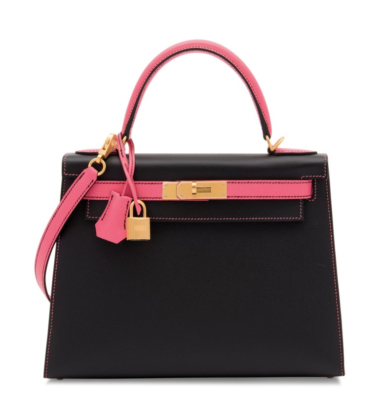 A custom black & rose azalée epsom leather sellier Kelly 28 with brushed gold hardware, Hermès, 2018. 28 w x 20 h x 10 d cm. Estimate £10,000-12,000. Offered in Handbags Online The London Edition, 9-25 June 2020, Online