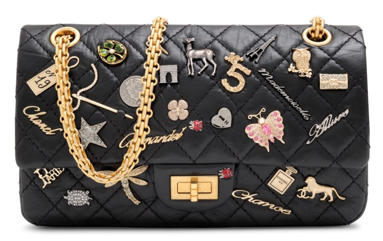A black aged calfskin leather lucky charm 2.55 reissue 225 single flap with gold hardware, Chanel, 2017. 24 w x 16 h x 7 d cm. Estimate £2,000-3,000. Offered in Handbags Online The London Edition, 9-25 June 2020, Online