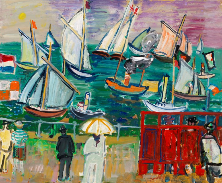 Carlos Nadal (1917-1998), Méditerranée, 1962. Oil and acrylic on paper laid on canvas by the artist. 21¼ x 25½ in (54 x 65 cm). Estimate £15,000-20,000. Offered in Joie de Vivre Modern Art and the Riviera, 30 June to 17 July 2020, Online