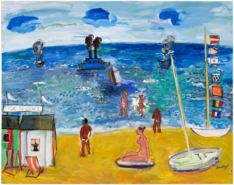 Carlos Nadal (1917-1998), La plage à Nice, 1982. Oil on canvas. 28¾ x 36¼ in (73 x 92 cm). Estimate £30,000-50,000. Offered in Joie de Vivre Modern Art and the Riviera, 30 June to 17 July 2020, Online