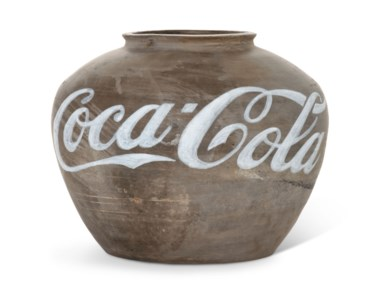 Ai Weiwei (b. 1957), Coca-Cola Vase, 2009. Han dynasty vase and industrial paint. 10⅛ x 12⅞ x 12⅞ in (25.7 x 32 x 32 cm). Estimate £250,000-350,000. Offered in  The World Is A Sphere Art from the Faurschou Foundation, 3-16 July 2020, Online