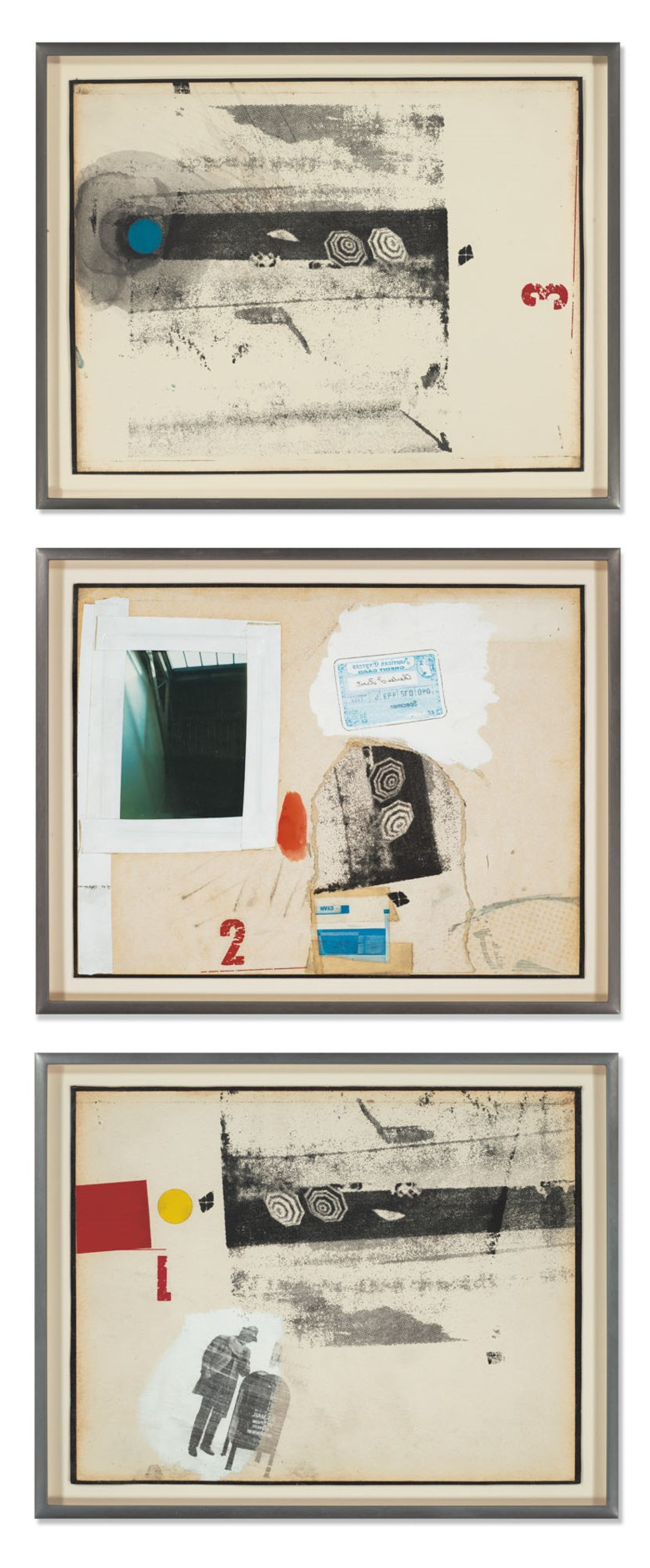 Robert Rauschenberg (1925-2008), Traveling Piece, 1966. Solvent transfer, photo and paper collage, gouache and tape on paper, mounted on board, in three parts. Each 8½ x 11 in (21.6 x 27.9 cm). Estimate £250,000-350,000. Offered in  The World Is A Sphere Art from the Faurschou Foundation, 3-16 July 2020, Online
