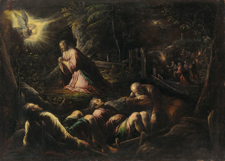Jacopo da Ponte, called Jacopo Bassano (Bassano del Grappa c. 1510-1592), The Agony in the Garden. Oil on canvas. 39⅛ x 54⅜in (99.3 x 138.1cm). Estimate £150,000-250,000. Offered in  Remastered Contemporary Art and Old Masters, 21-30 July 2020, Online