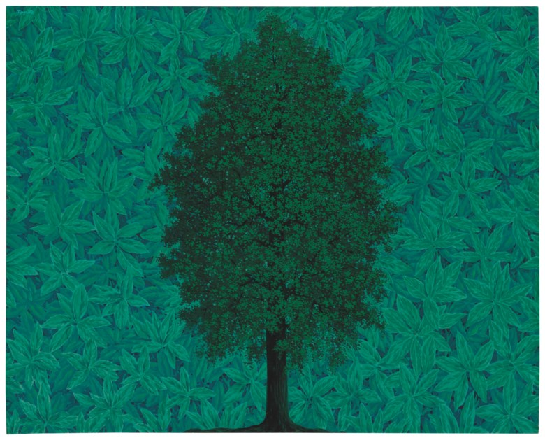 René Magritte (1898-1967), LArc de Triomphe, 1962. Oil on canvas. 51⅜ x 63¾  in (130.6 x 162  cm). Sold for £17,798,750 in ONE A Global Sale of the 20th Century on 10 July 2020 at Christie's in London. © 2020 C. Herscovici, London  Artists Rights Society (ARS), New York