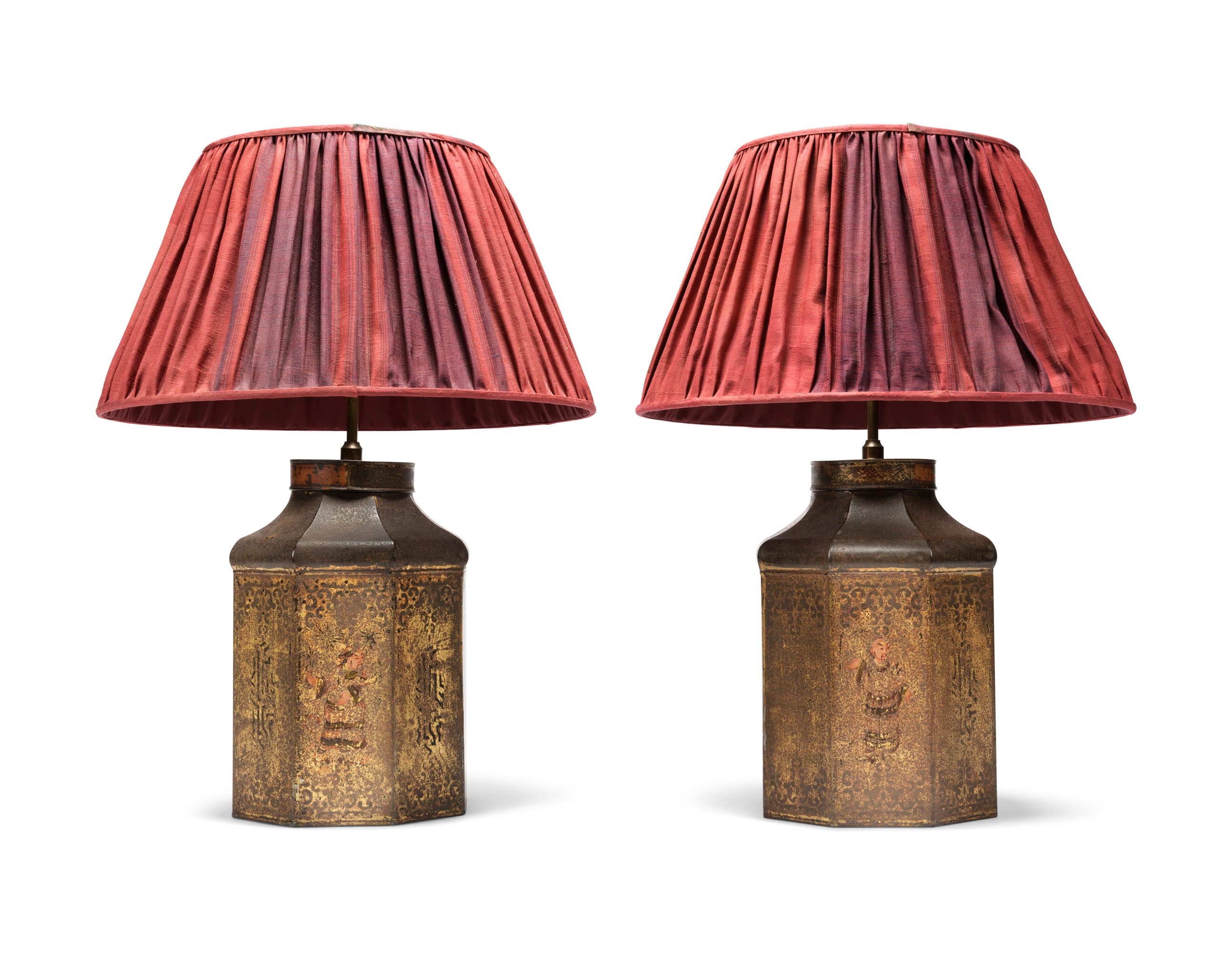 A PAIR OF LATE REGENCY JAPANNED METAL TEA CANISTER TABLE LAMPS