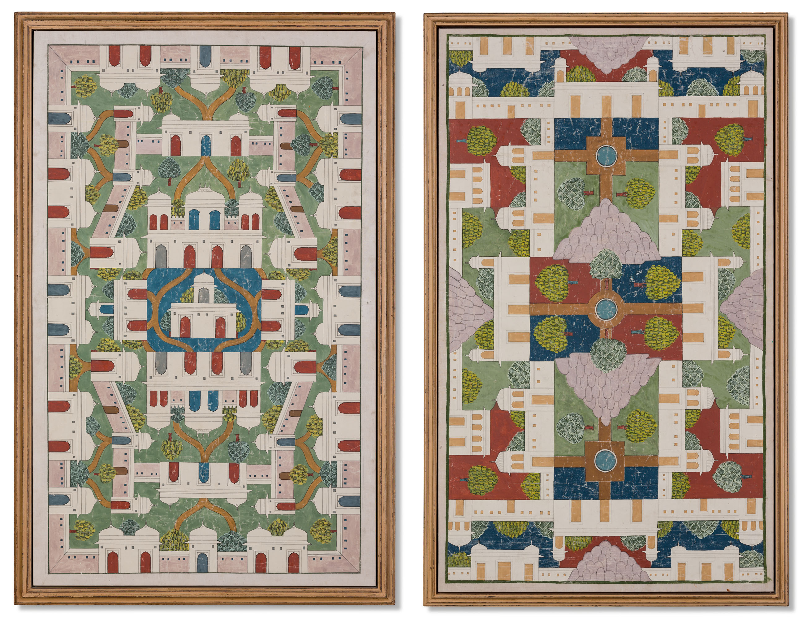 TWO INDIAN ARCHITECTURAL PAINTINGS OF PALACE GARDENS