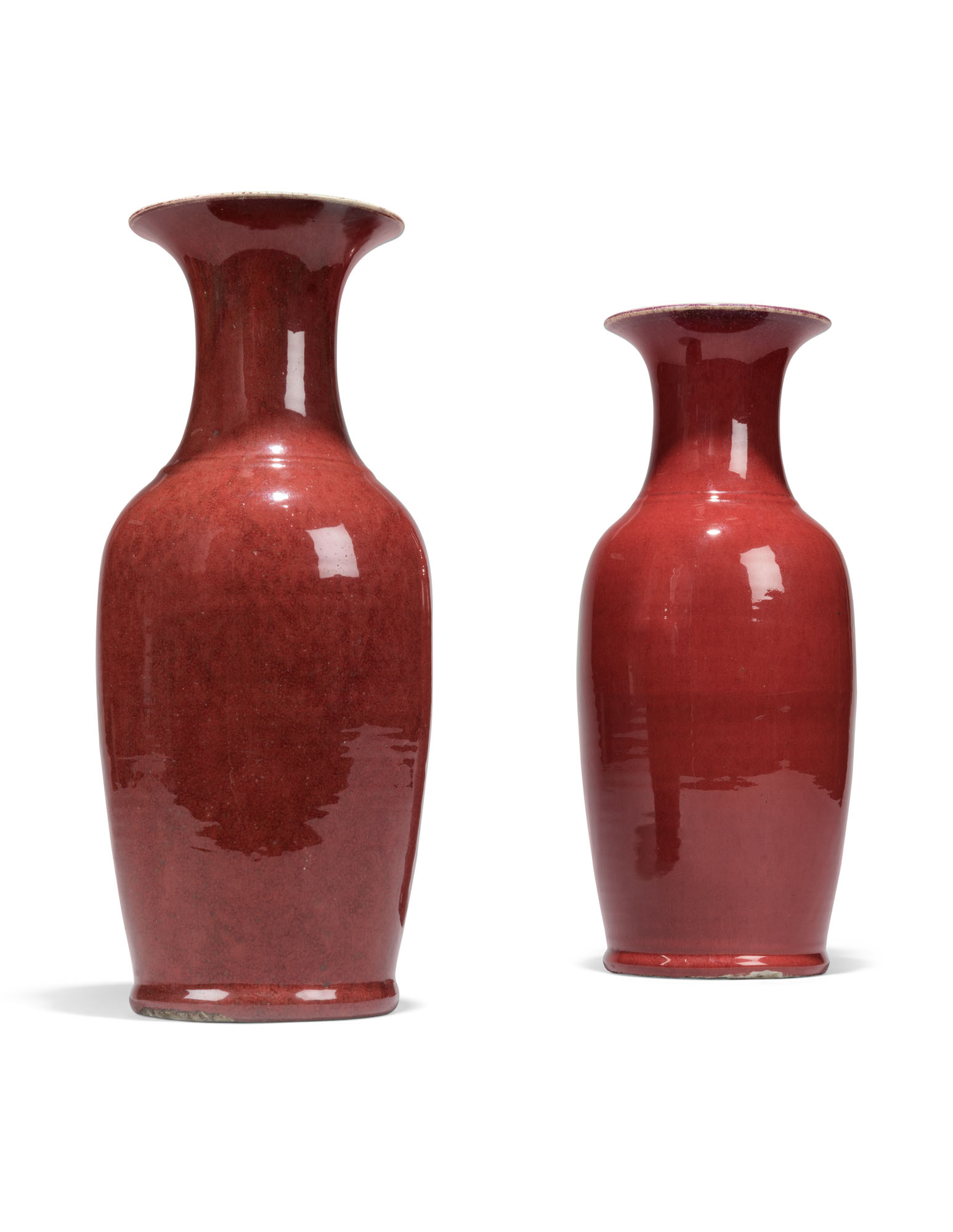 TWO CHINESE COPPER-RED-GLAZED VASES