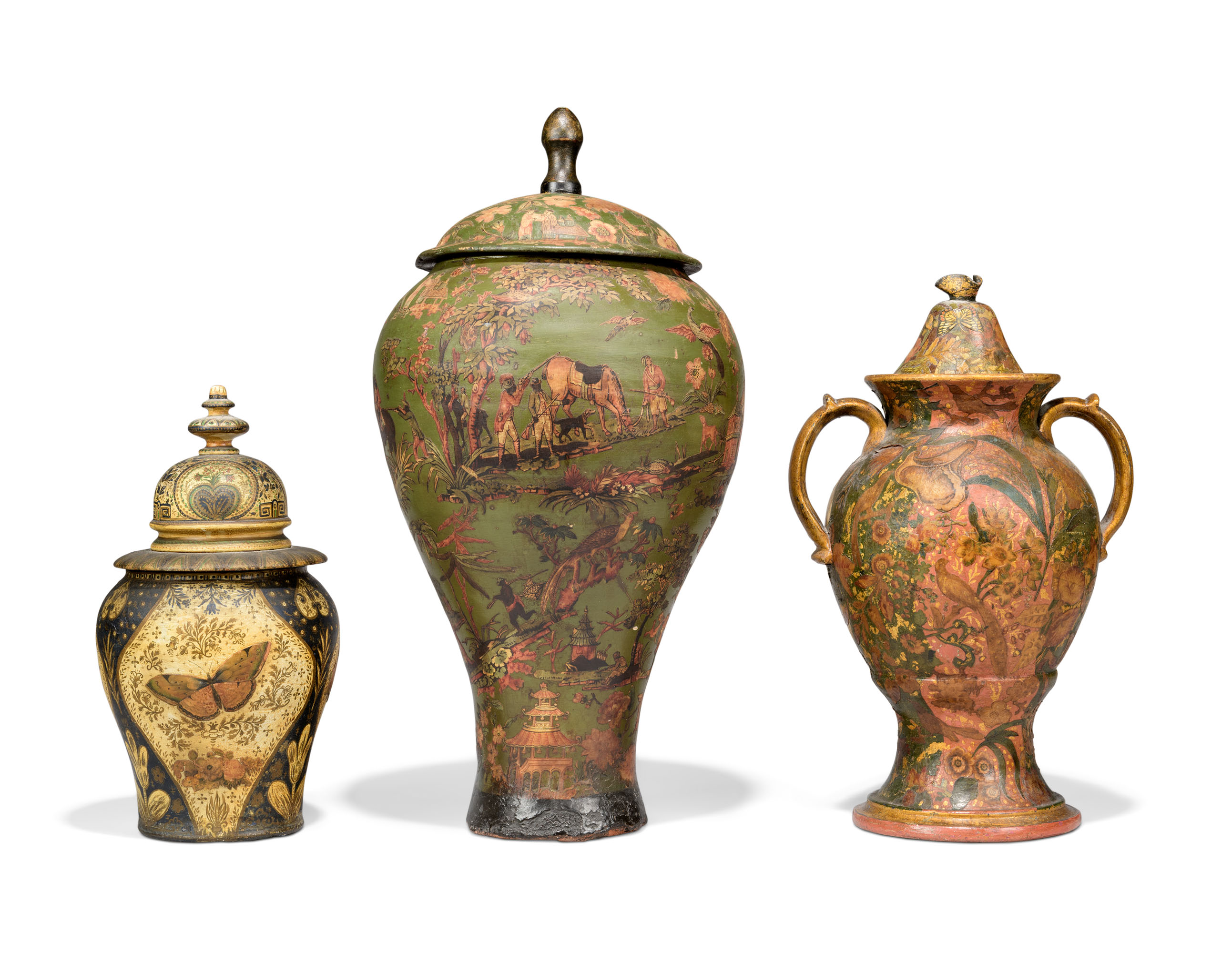 THREE NORTH EUROPEAN POLYCHROME-DECORATED JARS AND COVERS