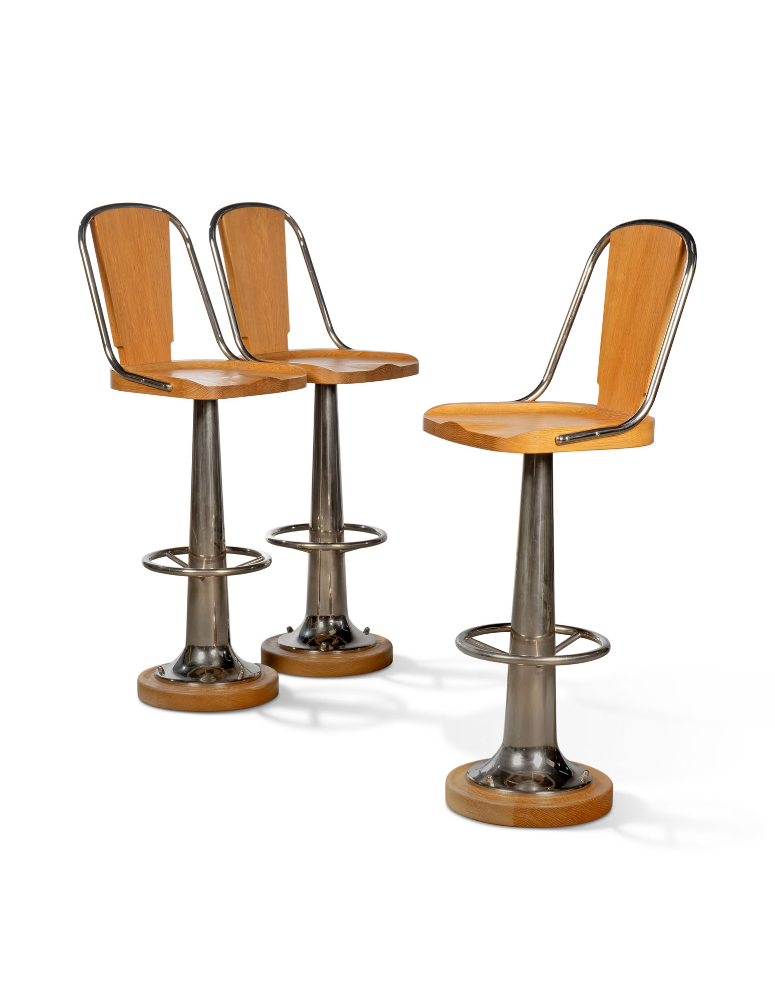 A SET OF THREE NICKEL-PLATED AND OAK 'YACHT BAR STOOLS'