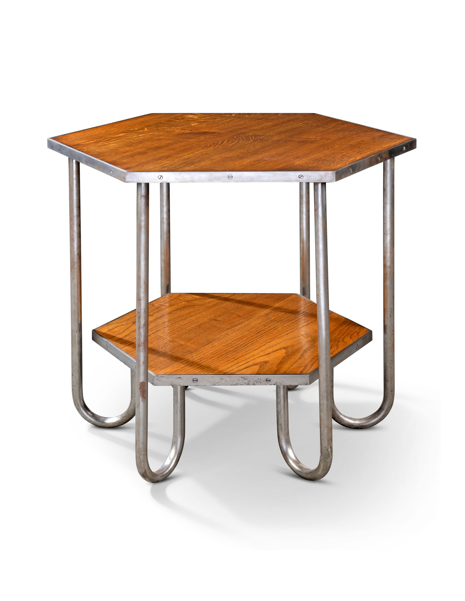 A FRENCH STEEL AND OAK HEXAGONAL OCCASIONAL TABLE