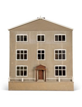 AN ENGLISH GREY-PAINTED PINE DOLLS HOUSE