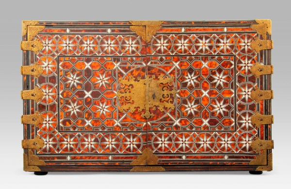 A SPANISH COLONIAL BRASS-MOUNTED AND EBONY, BONE AND TORTOISESHELL-INLAID CABINET-ON-STAND