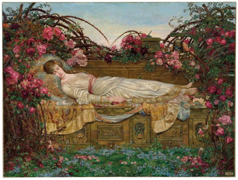 Archibald Wakley (1873-1906), The Sleeping Beauty, 1901-03. Oil on canvas. 48 x 64 in (102.5 x 122 cm). Sold for £400,000 in The Joe Setton Collection from Pre-Raphaelites to Last Romantics on 10 December 2020 at Christie's in London