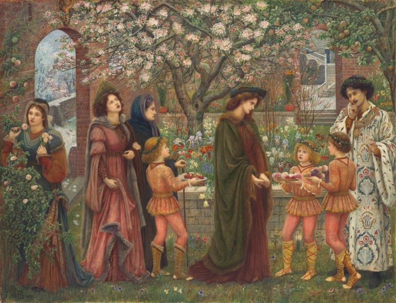 Marie Spartali Stillman (1844-1927), The Enchanted Garden, 1889. Pencil, watercolour and bodycolour heightened with gum arabic on paper. 30⅝ x 39¾ in (77.9 x 101.2 cm). Sold for £874,500 in The Joe Setton Collection from Pre-Raphaelites to Last Romantics on 10 December 2020 at Christie's in London